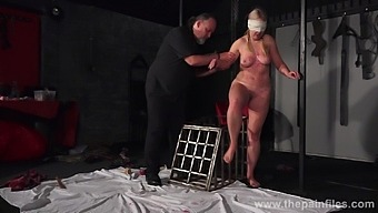 Blindfolded chubby chick Masie Dee gets punished by an old fart in the dungeon