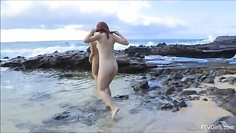 Outdoors video of Lena Hawaii having some kinky fun with a BFF