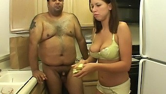 Sweet babe Hailey Paige lets a fat guy bang her in the kitchen