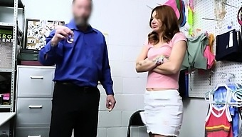 Redhead shoplifter gets facefucked and banged by an officer