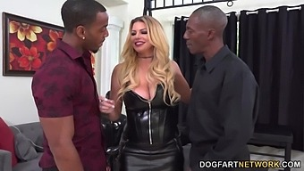 Wild big breasted MILF is ready for hardcore interracial threesome (MMF)
