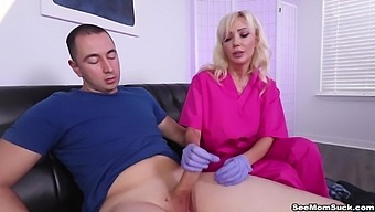 Big-breasted Victoria Lobov shares herself with a strapping lad