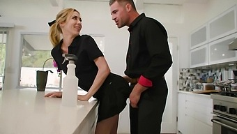 Small boobs hottie Aiden Ashley gets fucked hard in the kitchen