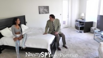 NannySpy Without a friend in the world dad seduces busty brunette Nanny Amia Miley