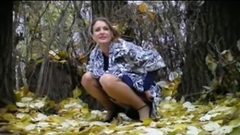 Czech bride pissing in forest! Beginner!