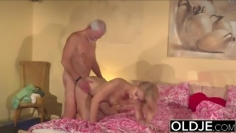 Grand father Fucks 19 years old young adult pussy and cums in her own entrance