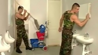 Soldiers inside potty