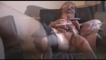 Furry granny in stockings soliciting and publicizing