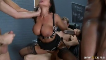 crazy warm milf ms weis ann gets team cracked by 3 perverted porn stars within the jail
