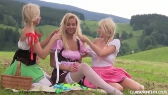 3 (three) horny little girls in dirndl skirts like party and outdoor masturbatory stimulation
