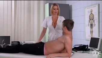 Stunning clearly influenced blond physician entices her patient to win his dick for BJ