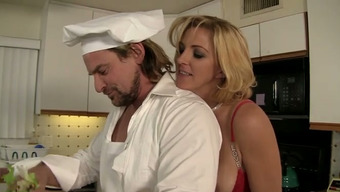 Fed up bootylicious blond housewife entices prepare dinner and rides his penis in kitchen