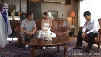 Japanese future bride take pleasure in her furry pussy stroked in that case drains penis