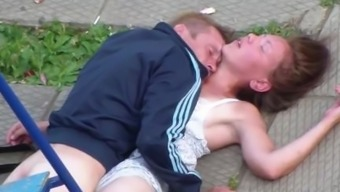 Intoxicated Partners Having Sex in government departments Square