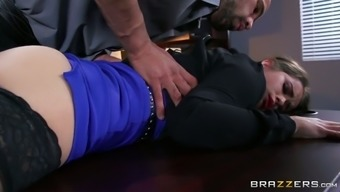 Distorted boss seduces little secretary and offers her tongue occupation