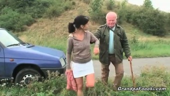 Gorgeous baby seduces grandpa on the streets
