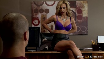 Worthless tits milf needs a extreme fuck in her own business office