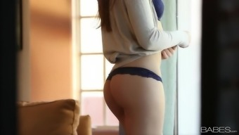 Gorgeous erotic tease with slender young adult
