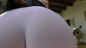 Plus sized dirty-minded auburn MILF in yoga jeans shows off her rising cost of living booty