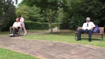 Subtitled weird Japanese people half exposed sitter outdoor
