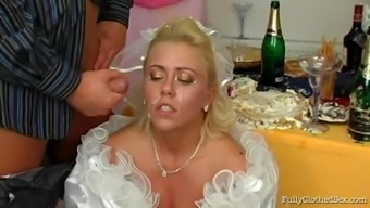 Perverted soon to be bride junk define gets sperm in emily's younger times lips before drilled at her weddind