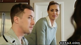 Deliberating co-worker spouses wind up in a threesome simultaneously