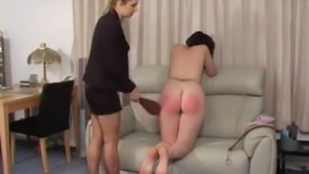 Lazy girl undressed and spanked