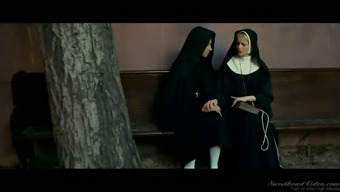 Spoiled and beautiful blonde nun Charlotte Stokely sinfully masturbates