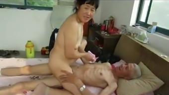 Oriental Grand father Trio by using mature woman