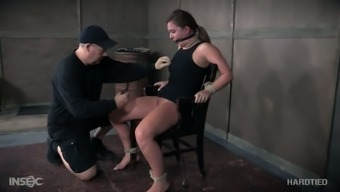Hogtied passive whore Maddy Oreilly gets her nipples attached challenging