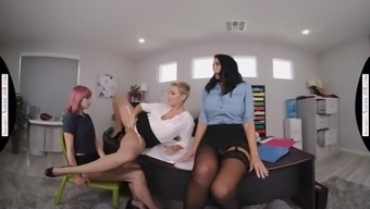 Naughty America hot office fucking with the boss and the interns