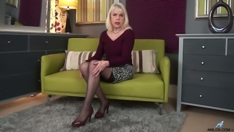 Greedy for satisfaction mature whore Margaret Holt happily masturbates her slit