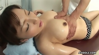 Horny masseur fondles Asuka Ayanami's tits and pussy with so much energy